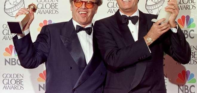 Jack Nicholson y Peter Fonda, enero de 1998. Foto: AFP