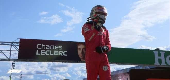 Leclerc festeja tras la carrera. Foto: Twitter F1.