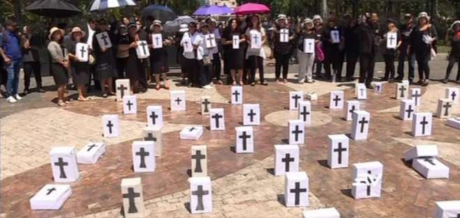 El plantón ocurrió en el parque Centenario en el centro de Guayaquil. Foto: Captura