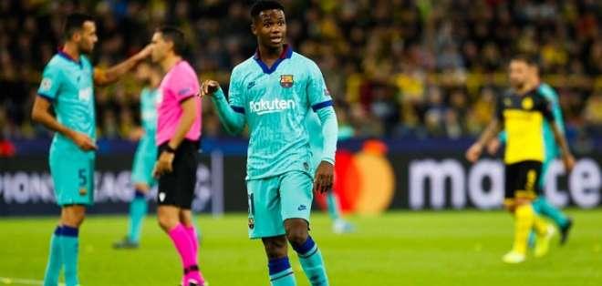 Ansu Fati en el partido ante el Borussia Dortmund. Foto: Twitter FC Barcelona.