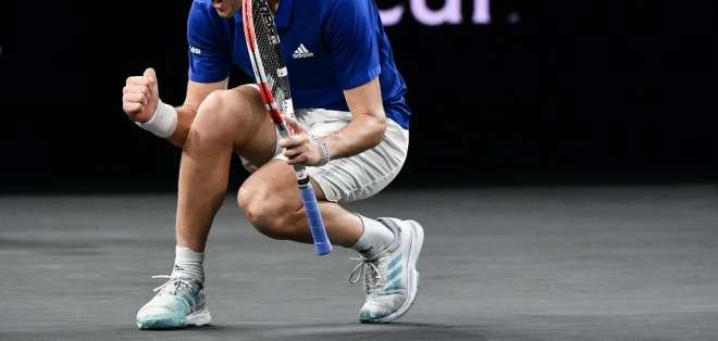 El tenista austríaco levantó tres puntos de partido para vencer a Denis Shapovalov. Foto: FABRICE COFFRINI / AFP