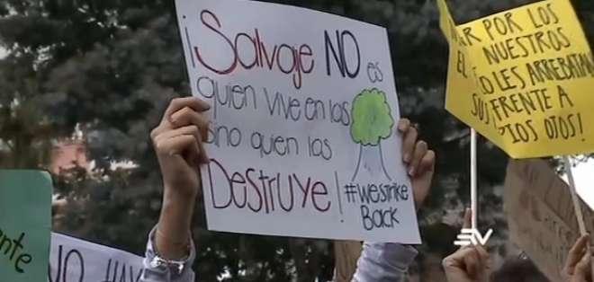 En Guayaquil y Quito, los activista ambientales pidieron preservar biodiversidad del país. Foto: Captura