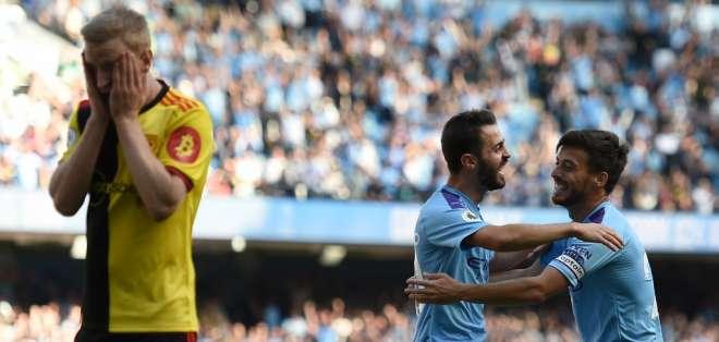 El equipo dirigido por Pep Guardiola hizo 5 goles en 18 minutos. Foto: OLI SCARFF / AFP