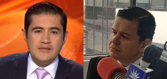 Richard Martínez, en Contacto Directo; y Sebastián Roldan, en una entrevista radial. Foto: Cortesía