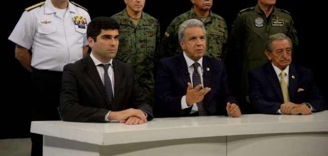 El presidente Lenín Moreno, durante la cadena nacional la noche del lunes 7 de octubre. Foto: Secom