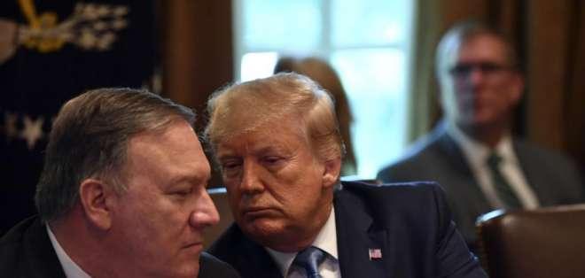Donald Trump, presidente de EEUU, junto a Mike Pompeo, secretario de Estado de ese país. Foto: AFP