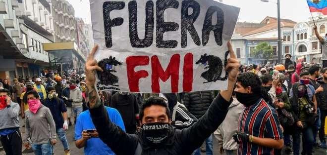 El rechazo al FMI ha sido un factor presente en las protestas en Ecuador.