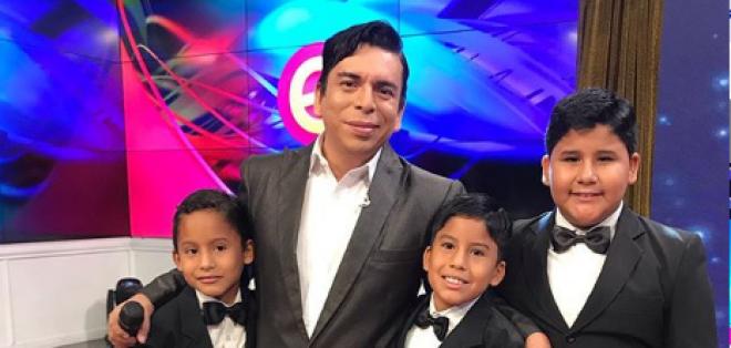 Angelo Barahona y sus sobrinos.
