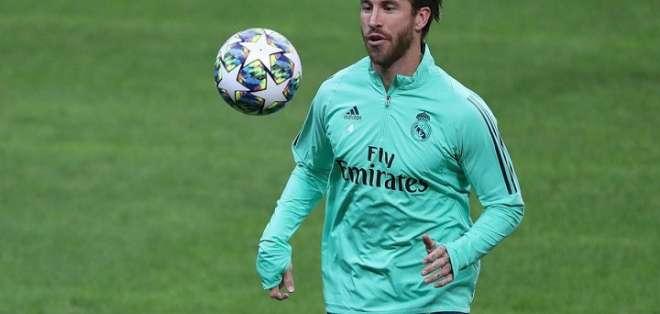 Sergio Ramos en un entrenamiento del Real Madrid.