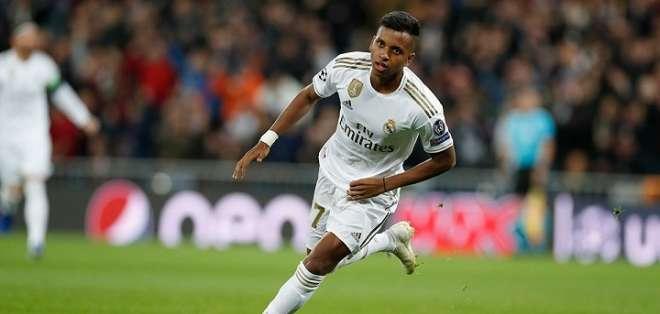 Rodrygo Goes, en uno de sus tres goles. Foto: Twitter Real Madrid.