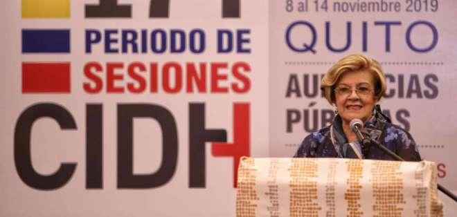 La relatora de la CIDH para Ecuador, Esmeralda Arosemena de Troitiño, en Quito. Foto: API