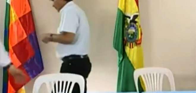 Evo Morales, luego de anunciar su renuncia al cargo de presidente de Bolivia. Foto: AFP