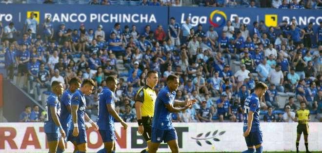 Emelec celebrando un gol en LigaPro. FOTO: API