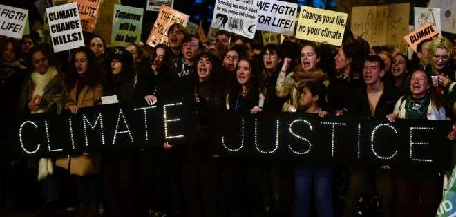 Protesta por el clima en Madrid, el seis de diciembre de 2019. Foto: AFP