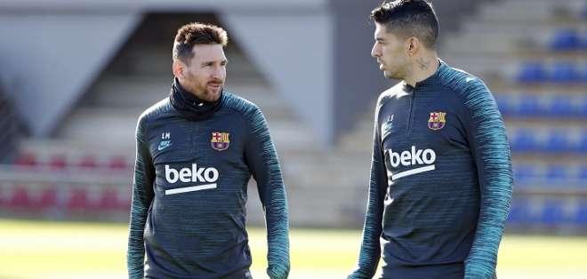 Messi junto a Suárez en una práctica del FC Barcelona.