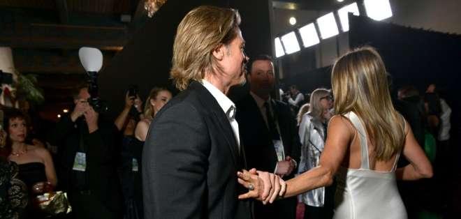 Jennifer Aniston y Brad Pitt fotografiados juntos en más de una década. Foto: AFP