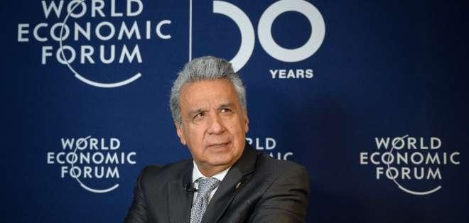 El mandatario ecuatoriano se encuentra en el foro mundial de Davos. Foto: FABRICE COFFRINI / AFP