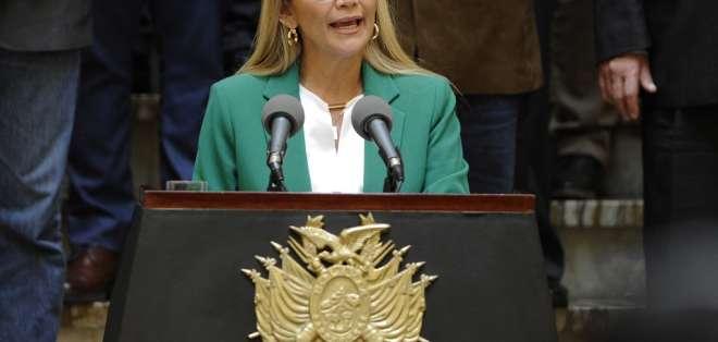 Áñez es presidenta interina de Bolivia desde el 12 de noviembre de 2019. Foto: AFP