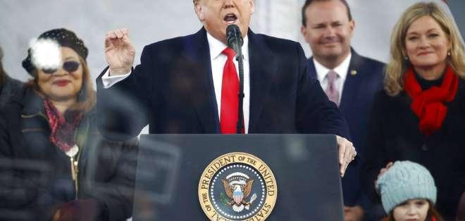 """Trump durante el evento anual """"Marcha por la Vida"""" en Washington. Foto: AP"""