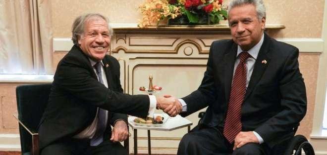 La reunión entre Luis Almagro y Lenín Moreno se dio en EE.UU. Foto: Secretaría General de Comunicación de la Presidencia