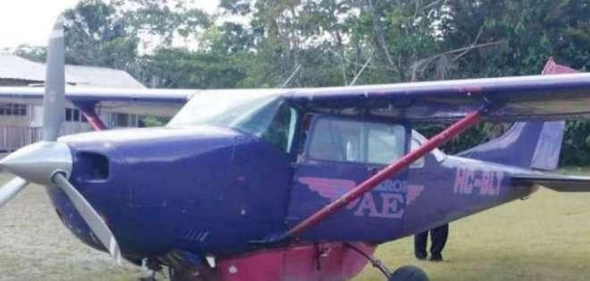 Avioneta accidentada en en Puyo, capital de la provincia de Pastaza.