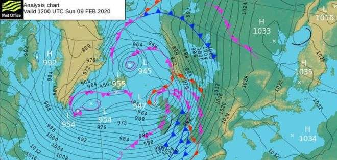 Las tormentas Ciaria y Dennis que azotaron a Reino Unido causaron enormes daños por el viento y las inundaciones. Met Office