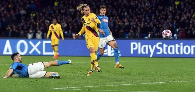 Griezmann al momento del empate del FC Barcelona. Foto: Champions.