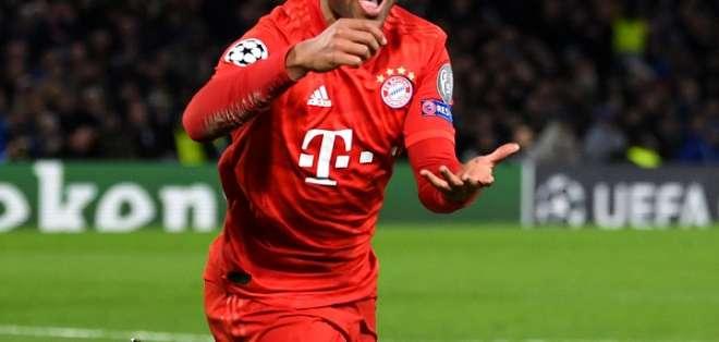 Serge Gnabry celebra uno de sus goles. Foto: Champions League.
