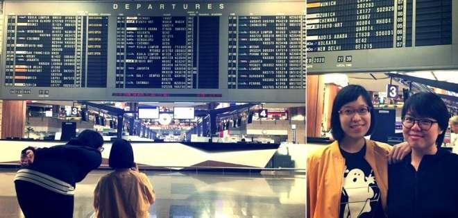 Eileen Lim y Nicole Lee fueron especialmente hasta la Terminal 2 del aeropuerto Changi, en Singapur, para tomarse la foto.
