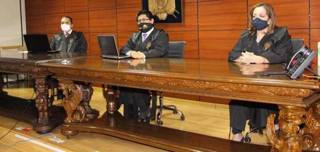 Los jueces Wilman Terán, David Jacho y Dilza Muñoz de la Corte Nacional de Justicia. Foto: API.