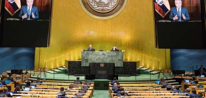 El presidente de Ecuador durante su intervención en el congreso de la ONU. Foto: EFE/EPA/Rick Bajornas
