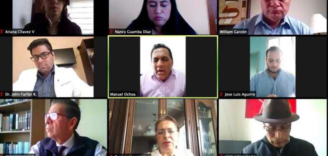 Integrantes de la Comisión de Salud, durante una sesión virtual. Foto: Twitter