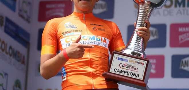 La ecuatoriana Miryam Núñez, tras su triunfo en la Vuelta a Colombia. Foto: EFE