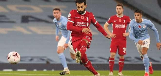 Salah durante el cobro de un penal. Foto: Internet.