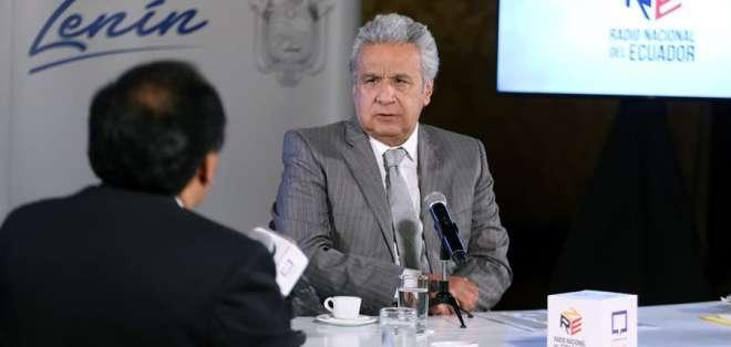 """Moreno durante el programa """"De frente con el presidente"""", promovido por la Secretaría de Comunicación. Foto: EFE."""