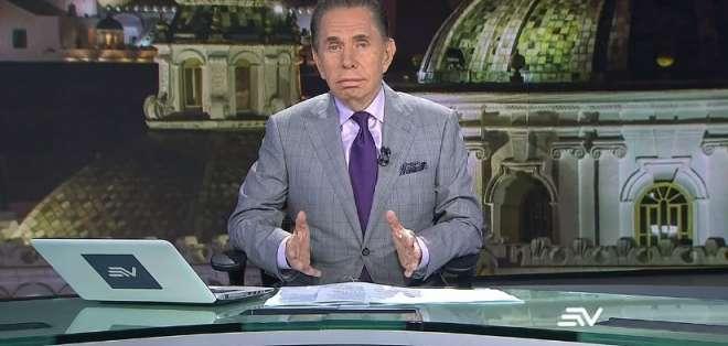 Espinosa de los Monteros, de 79 años, en el espacio informativo Televistazo. Foto: Ecuavisa.