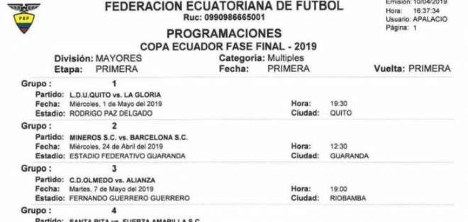 Definen fechas y horarios para duelos de Copa Ecuador