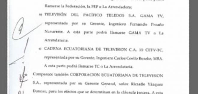Convenio que Ecuavisa, FEF, TC y GAMA TV firmaron para la transmisión de los partidos