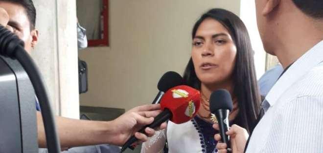 La candidata a la vicepresidencia por la lista de Selim Doumet confía en su victoria. Foto: Kevin Verdezoto/Estadio