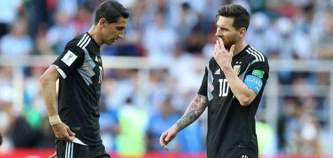 Di María y Messi durante un cotejo del Mundial Rusia 2018.