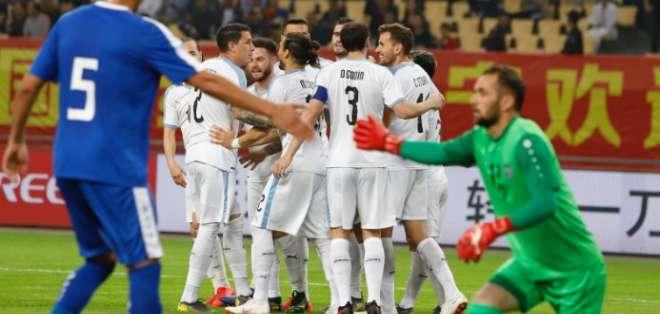 La 'celeste' venció 3-0 a Uzbekistán sin Luis Suárez y Edinson Cavani. Foto: Tomada de @Uruguay
