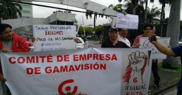 Trabajadores de Gamavisión reclaman pago de sueldos