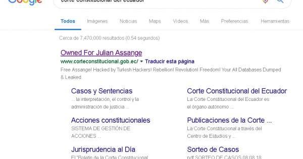 Atacan página web de la Corte Constitucional