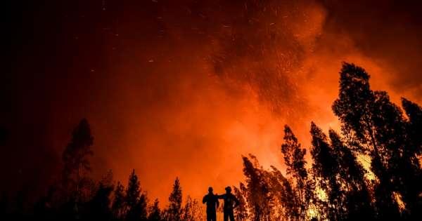 Bomberos luchan contra un gran incendio en Portugal
