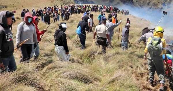 Controlado incendio en páramo del cantón Otavalo