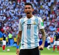 Di María, festeja un tanto con Argentina.
