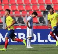 Ecuador festeja su tanto contra Argentina