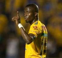 El delantero ecuatoriano fue la figura en el 5-1 contra Saprissa por la Concachampions. Foto: Julio Cesar AGUILAR / AFP