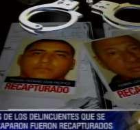 Los recapturados Luis Alberto Ferrín y Éder Pacífico Proaño Pazmiño.