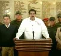 Imagen tomada de la señal de Venezolana de Televisión que muestra al vicepresidente venezolano, Nicolás Maduro, al anunciar que el presidente de Venezuela, Hugo Chávez.